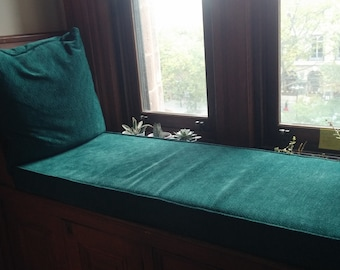 One Custom Window Seat Cushion 4 High Luxurious Chenille Turquoise 2nd Photo
