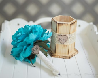 Burlap Guest book pen with vase select flower showing torqouise  flower peony pen