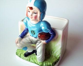 Vintage Football Player Ceramic Planter