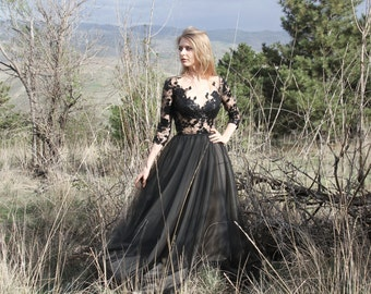 Black Handmade Lace top Tulle bottom gown