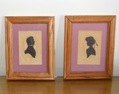 PAIR of Antique Framed Silhouettes Victorian MAN & WOMAN by Sidney Z. Lucas