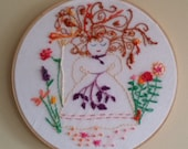 In the Garden, Art in Hoop, Embroidery in Hoop, Kids and Babies, Girl's Room Decor, Nursery Decor, Handmade, Witty's Paper Cutout Dolls