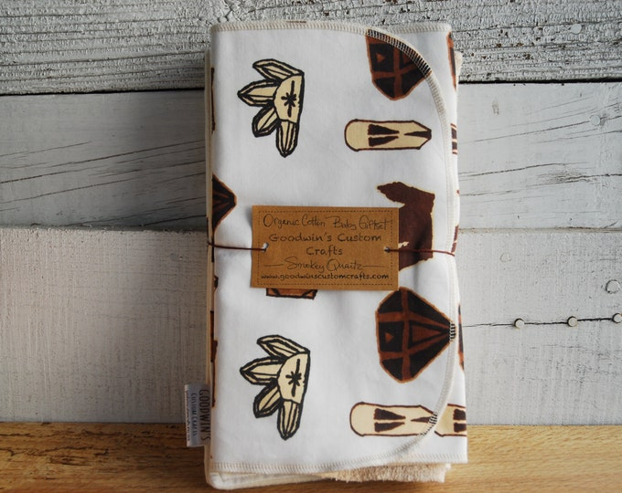 Organic Baby Gift Set, Includes Blanket & Two Burp Cloths - Smokey Quartz Crystals, Gemstone Giftset