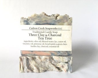 Tea Tree Three Clay Charcoal Traditional Castile, French Green Clay, French Pink Clay, White Kaolin Clay, Activated Charcoal
