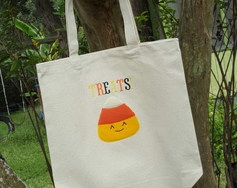 Candy Corn Treat tote! Sturdy sack for all the goodies this month. Free Personalization til 10/23!