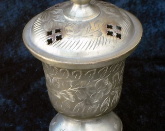 """Vintage Large Brass Incense Burner - East India - Hand Etched Floral Design 5"""""""