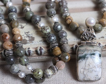 Gorgeous Earthy Bead Necklace - Silver Leaf & Alpine Agate, Pearls and Sterling Silver