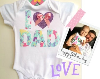 Fathers Day New Dad Baby Bodysuit. Pretty Unicorn Fabric with Lilac Glitter Heart. All sizes and sleeve lengths available.