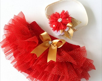 Glitter Red and Gold Chiffon Ruffle Bloomers and Matching Headband Baby Gift First Christmas