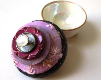 Vintage Button Ring and Proposal Box:  Asian Pink Floral Vintage Button & Vintage Iridescent Cream Footed Ceramic Salt Cellar Jewelry Box
