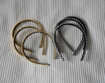 6 Headbands Gold and Black white check  Supplies