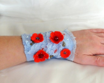 "Felted wrist wrap "" Floral red light blue "" Hand Warmers  cuffs wristlet bracelet merino wool textile cuff beaded moss green olive green"