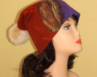 Felted Set -Beanie with fur ball Pom pom  Baggy bronze olive green purple  lilac brown carmine slouchy hat fur tassel