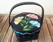 Reserved For May....Vintage Hand Painted Black Floral Sewing Basket