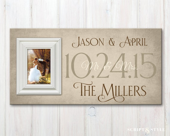 Personalized Wedding Wood Picture Frame with Wedding Date, Custom ...