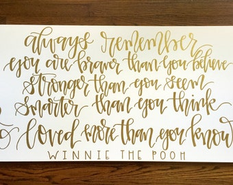 Winnie the Pooh Canvas in Gold Ink