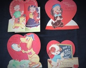 Lot of 4 Vintage paper Valentine Cards- Dog Themed- Americard - fold out, stand up- all SUPER CUTE! unused