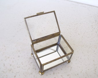 Small Glass Brass Display Case Collection Miniatures