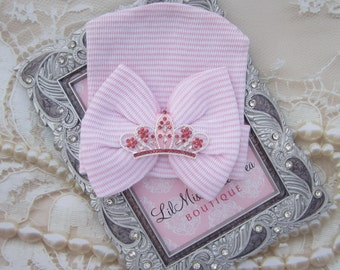 Queenie Beenie Newborn Hospital Hat, pink and white stripes with a silver princess crown from Lil Miss Sweet Pea Boutique