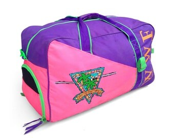 Giant 80s Neon WWF Save The Rainforest Vacation Size Duffle Bag
