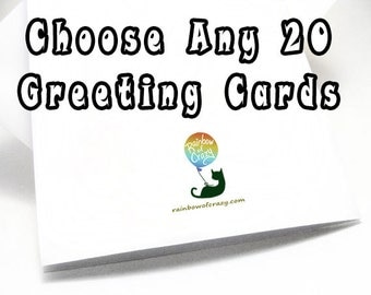 SALE: Card Set 20 Greeting Cards, Your Choice, Any Card, Custom Message, Personalized Name, Blank Card, Birthday Card, Thank You Card