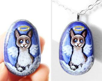 Snowshoe Cat Necklace, Angel Pendant, Hand Painted Rock Art, Pet Loss, Beach Pebble Jewelry, Pet Memorial Gift for Her, Cute Cat Painting