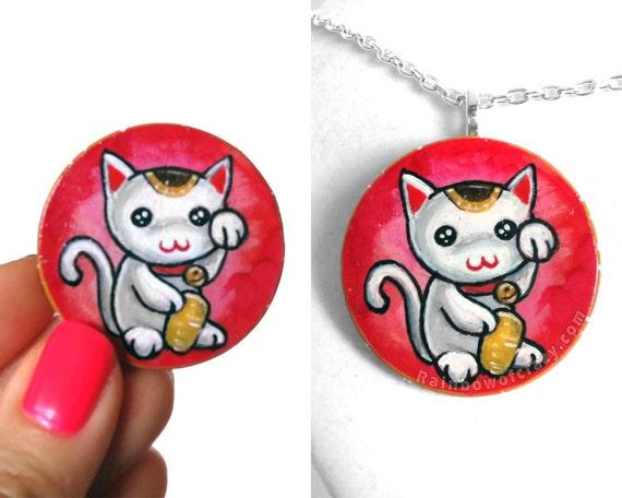 Japanese Lucky Cat Necklace, Maneki Neko Hand Painted Jewelry, Cute Cat Art, Gift for Girls, Good Luck Charm
