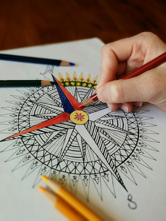 Compass Rose Mandala Coloring Page Instant PDF Download
