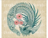 Peacock instant digital download clip art Orange or pink flower for iron on transfer to fabric burlap paper pillows tote bag card No. 597