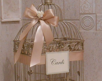 Large Champagne Gold  and Blush Wedding Card Box / Wedding Card Holder / Birdcage Card Holder / Wedding Decor / Large Card Holder / Birdcage