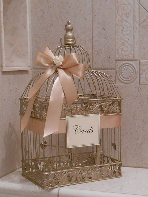 Large champagne gold and blush wedding card box wedding card for Wedding mailbox decorating ideas