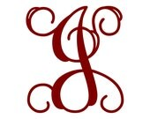 "3"" Vine Monogram Vinyl Decal Sticker - 1 Initial - 26 Colors to Choose From"