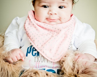 Cowl style bandana bib pink with silver dots.  Matching knotted bow headband also available.