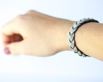 Braided Leather Bracelet / Storm Cloud