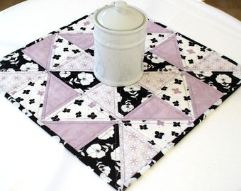 Quilted Table Topper, Candle Mat, Black White Lavender, Floral Summer Table Topper, Square Table Topper, Quiltsy Handmade