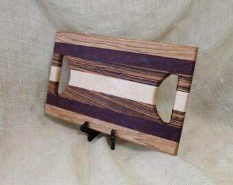 Maple, Zebra Wood, Purple Heart and Oak Hardwood Cutting Board or Carving Board