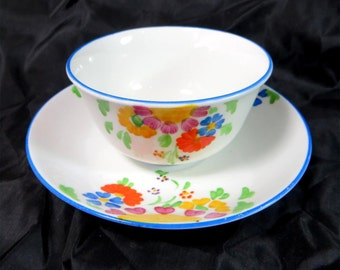 SALE! Art Deco Cup & Saucer, Handpainted Royal Albert Floral Porcelain Teabowl and Saucer Lawleys of Regent St 1930s