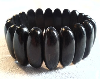 Victorian Mourning Bracelet of Pressed Horn, Whitby Jet Substitute, Gothic