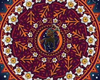 Sagittarius Mandala, Sag, Sagittarius Art, The Archer, Zodiac Art, Fire Sign, Centaur, Sag Artwork, Archer Print, Astrology Art, Star Sign