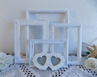 White Shabby Chic Frame Set Rustic Distressed Picture Photo Wedding Reception Decoration Romantic Cottage French Country Home Decor Gift Her