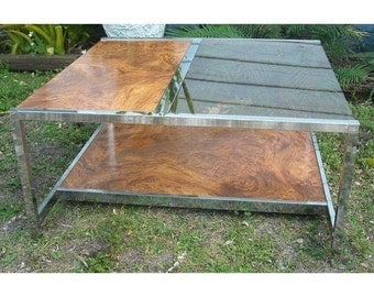 Mid Century Chrome Burl Coffee Table Baughman Glass