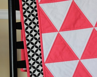 Triangle Quilt, Baby Girl Quilt, Modern Crib Quilt, Solids Baby Quilt