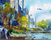 Vintage 1965   Albert Hollenbeck watercolor painting,Spring in Central Park, signed