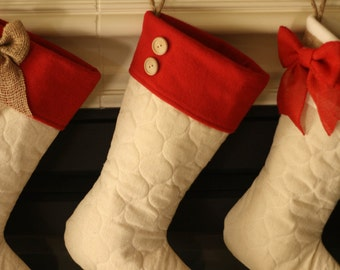Quilted Stocking with Red Cuff Accents - C