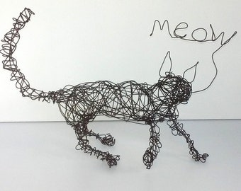 Unique Wire Cat Sculpture - HAPPY MEOW