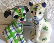 SALE Calico Cat and Gingham Dog Ceramic Figures Salt and Pepper Rare Green Colors Brayton Pottery Nursery Rhyme Decor
