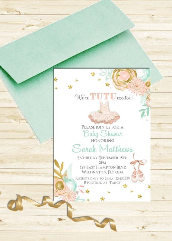 Tutu Cute Baby Shower Invitation - Ballerina Mint Gold Pink Printable Invite