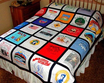 Custom-made TeeShirt Quilt made with 16-20 teeshirts