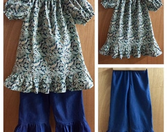 Boho Peasant Top and Denim Ruffle Pants, size 4t