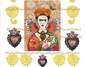 Frida Art, Digital Download, Mexican Art, Frida Kahlo  Collage, Milagro Hearts, Clip Art Frida, Folk Art Flowers, Scrapbooking, Art Cards
